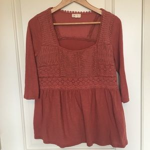 Anthropologie brand Meadow Rue rust top sz M